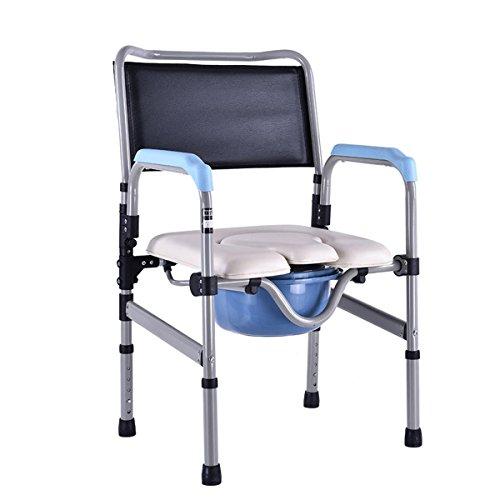 SHKD Silla plegable Anciano Sentado en la silla Persona discapacitada WC Asiento de inodoro Mujer embarazada Moving Toilet Silla de baño Moving Toilet Silla de ducha , A