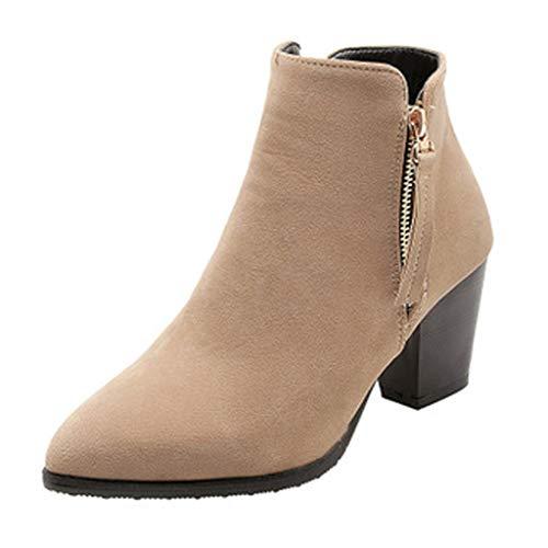 Dorical Chelsea Boots Stiefeletten Damen Kurzschaft Kunstleder mit Absatz Kurze Reissverschluss Bequem Stiefel Winter 6.5 cm Schuhe Schwarz, Gelb, Beige Gr 35-43 EU(Beige,39 EU) -