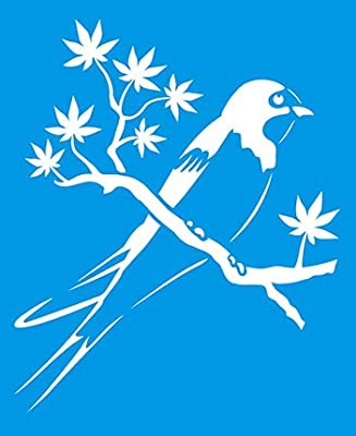 21cm x 17cm Flexibel Kunststoff Universal Schablone - Wand Airbrush Möbel Textil Decor Dekorative Muster Design Kunst Handwerk Zeichenschablone Wandschablone - Vogel Baum