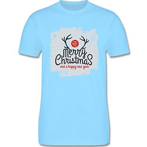 Weihnachten & Silvester - Merry Christmas Happy new year Grunge Hirschgeweih - Herren Premium T-Shirt Hellblau