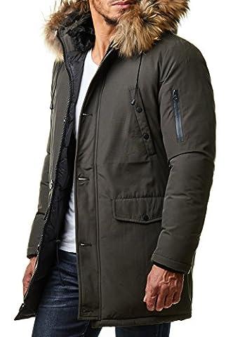 Burocs Herren Parka Winter Mantel Lang Jacke Echtfell Kapuze Schwarz Khaki BR1626, Größe:S, Farbe:Khaki