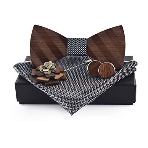 Quner Herren Hölzerne Fliege Schleife mit Einstecktuch Brosche und Manschettenknöpfen Kleidungszubehör Set für Hochzeiten Partei zum Anzug (NO2)