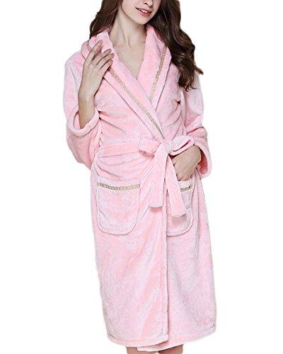 Albornoz de Microfibra Super Suave Pijama Túnica Ropa con Dormir para Unisex Adultos Pink Rayas Mujer L