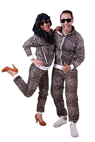 FetteParty Deluxe - 80er - 90er Jahre Leoparden Kostüm Trainingsanzug Jogginganzug Mottoparty Schlagermove Party Outfit Karneval Fasching JGA Size S -XXL (90er Jahre Kostüm Für Erwachsene)