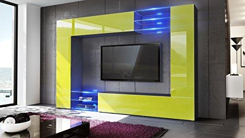 Wohnwand Anbauwand Mirage, Korpus in Schwarz matt / Fronten in Limette Hochglanz inkl. LED Beleuchtung - 2