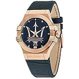 Orologio da uomo, Collezione Potenza, movimento al quarzo, tempo e data, in acciaio, PVD oro rosa e cuoio - R8851108027