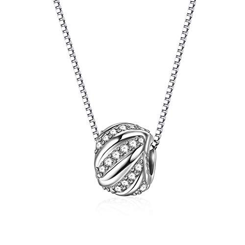 J.Endéar 925 Sterling Silber Kette Damen mit Anhänger Bead 45 cm Halskette Muttertags Geburtstags Geschenk