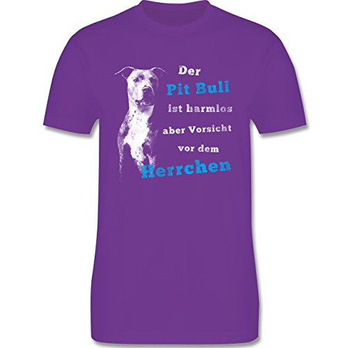 Shirtracer Hunde - der Pit Bull ist Harmlos aber Vorsicht vor dem Herrchen - Herren T-Shirt Rundhals Lila