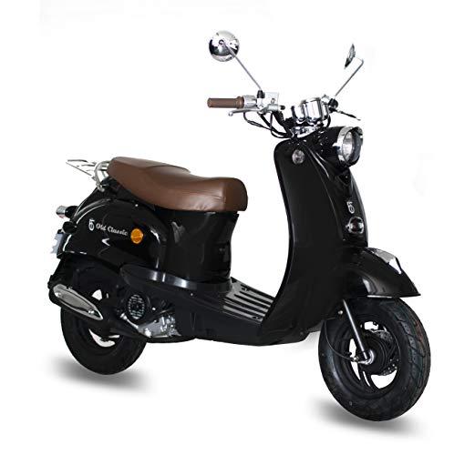 Motorroller GMX 460 Retro Classic 45 km/h schwarz - sparsames 4 Takt 50ccm Mokick mit Euro 4 Abgasnorm