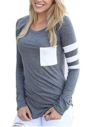 T-Shirt Donna Eleganti Manica Lunga Top Autunno Camicia Rotondo Collo Magliette Puro Colore Pulsante Bluse Casual Camicetta Taglie Forti Camicie Primavera Elegante Moda Grey