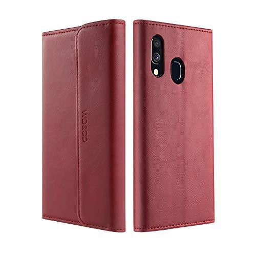 WD&CD Leder Wallet Hülle Ersatz für Samsung A40 Hülle, Magnetverschluss Snap Flip-Schutz Telefon-Schutzhülle Handyhülle mit Karten Steckplätzen und Ständer für Samsung Galaxy A40,Rot Leder Snap Case