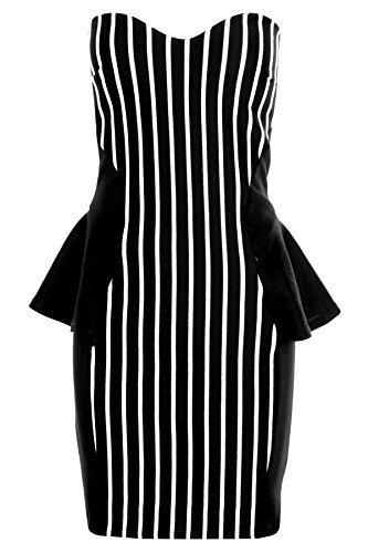 SAPHIR Femmes Sans bretelle Blanc noir rayé Bandeau Péplum Jupe Droite Robe Pour Femmes Rayure Noir
