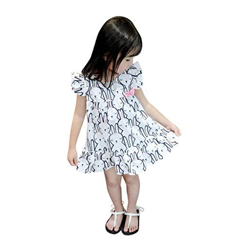 INLLADDY Kleidung Baby Mädchen Kaninchen-Cartoon-Print Kleider Baumwolle Prinzessin Kostüm Neugeborene Rock Tutu Kleid 0-24 Months Blau Höhe:80cm (Regal Rote Prinzessin Kostüm)