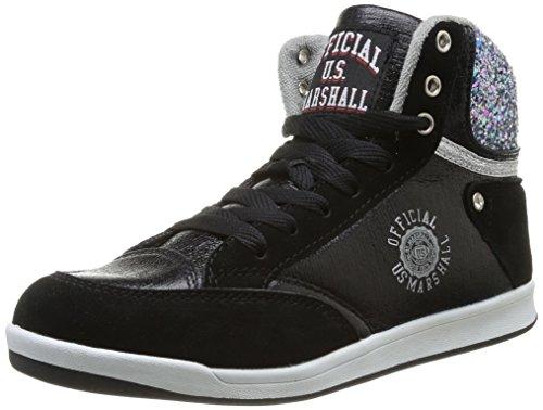 us-marshall-douna-baskets-mode-femme-noir-noir-argent-35-eu