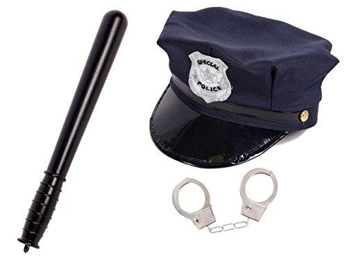 Kinder Polizei Kostüm Set KV-71 Verkleidung Karneval Fasching Cop Kids Polizeihut Schlagstock Handschellen von Alsino (Polizei Outfit Für Kinder)