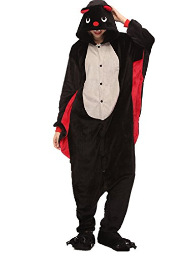 URVIP Neu Unisex Festliche Anzug Flanell Pyjamas Trickfilm Jumpsuit Tier Cartoon Fasching Halloween Kostüm Sleepsuit Party Cosplay Pyjama Schlafanzug Fledermaus X-Large
