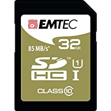 Emtec 32GB Class10 Gold + 32GB SDHC Clase 10 memoria flash - Tarjeta de memoria (32 GB, SDHC, Clase 10, 85 MB/s, Negro, Marrón)
