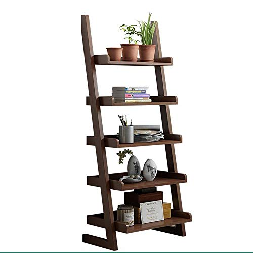 JCNFA Tragbares Leiterregal Wand Bücherregal Corner Display Shelf Mehrzwecklager Regalfach , Fünfschicht-Kiefer (Farbe : Nussbaum, größe : 23.62 * 11.81 * 55.11in) -