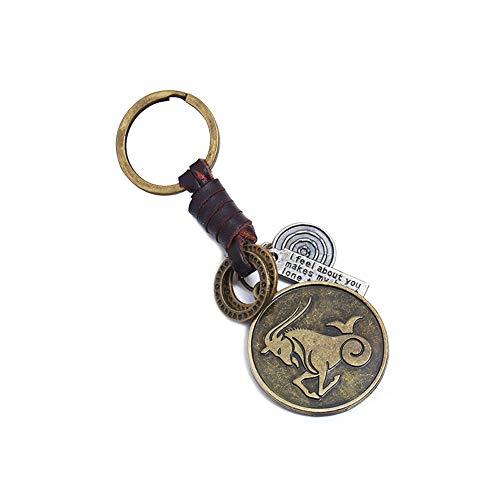 Lumanuby 1x Vintage Konstellation Auto Schlüsselbund Unisex für Schlüssel, Mini U-Disk Legierung Beutel Anhänger von Handtasche, Umhängetasche, Schlüsselanhänger Serie Anhänger 3.8 * 3cm (Steinbock)