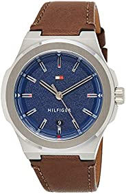 Tommy Hilfiger Mens Quartz Watch, Analog Display and Leather Strap 1791645