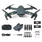 HORUS Drohne mit Kamera E58 Live Übertragung,120°Weitwinkel 720P HD Kamera, Wifi FPV Quadrocopter, App-Steuerung, One Key Start/Landung,Headless Modus,Pocket Drohne für Anfänger,Schwarz Zwei Batterien