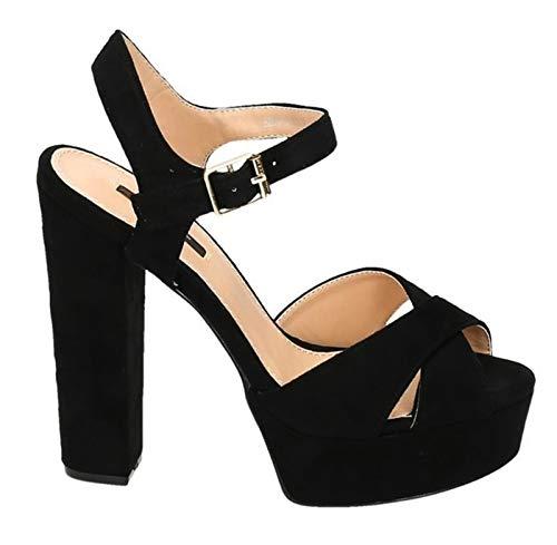 Damen Plateau Sandaletten mit Blockabsatz Pumps High Heels Hochzeit 07 (41, Schwarz) Sexy Schwarze Peep-toe-heels