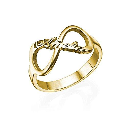 Yanday Benutzerdefinierte Name Paar Unendlichkeit Symbol Typenschild Ring Mode personalisierte Ring(18 Karat (750) Gelbgold 72 (22.9))