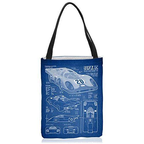 VOID 917K Blaupause Tasche Einkaufs-Beutel Polyester Shopper Einkaufs-Tasche Bag Le Mans, Polyestertasche Größe:Medium