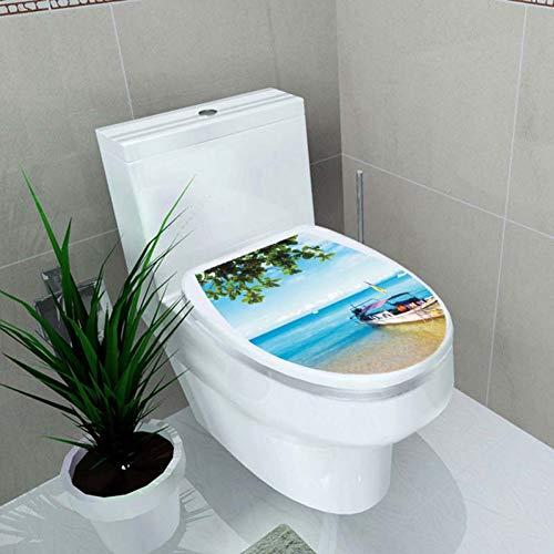 Leuchtstoff Bad (YRHT Wandsticker 3D wc Sitz Aufkleber Bad dekorative Landschaft Strand Vinyl Selbstklebende wohnkultur Bad wc Decor,DCS6001-K)