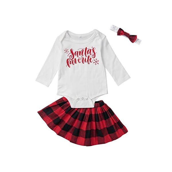 Abrigo cálido de inviernoConjunto de Trajes de Navidad de Falda de Cuadros de Navidad para niñas recién Nacidas 1