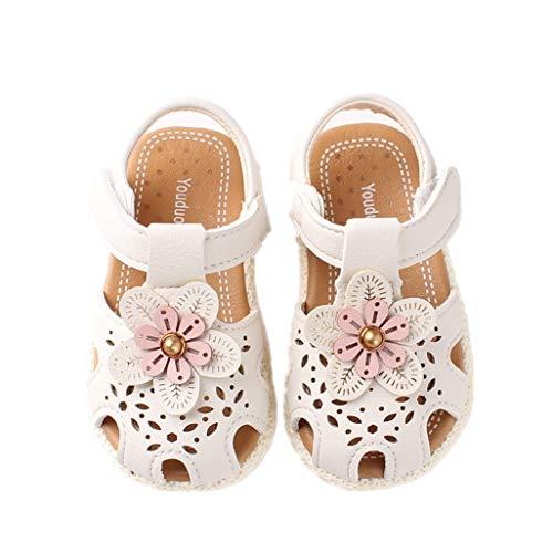 Auxma Baby Mädchen Weiche Sohle Sandalen Rutschfeste Kleid Hochzeit Krippe Schuhe für 6-36 Monate (21 EU, Weiß)