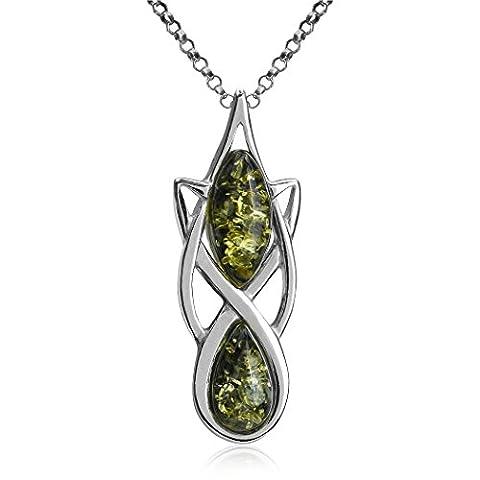 Sparkling Green Amber Sterling Silver Celtic Slider Pandant Chain 46cm