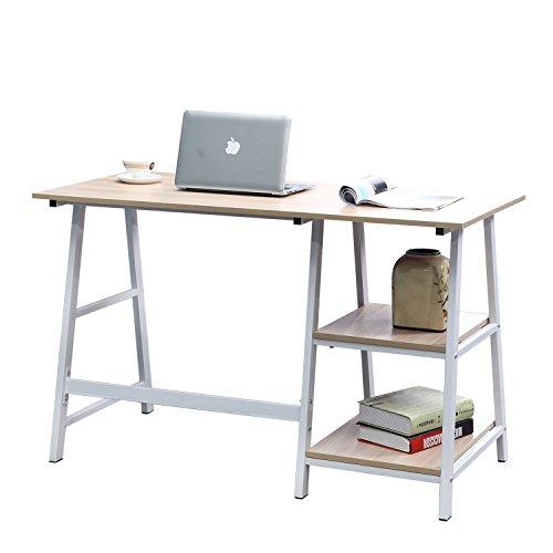 sogesfurniture Escritorio de Oficina 120 x 60 cm Mesa de Ordenador Mesa de Trabajo Escritorio para Computadora con 2 estantes, de Madera y Acero, Arce Blanco TPlus-MO-BH