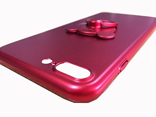 Aiqaa iPhone 7 Plus Caso con 360 Rotante Anello Titolare Kickstan Supporto per iPhone 7 Plus (Rosa) Rosso,Nuovo