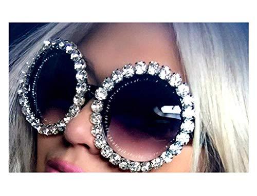Jeewly Klassische Sportsonnenbrille, Luxury Oversize Sunglasses Women Vintage Rhinestones Sunglasses Round Glasses Men Shades For Women Oculos Feminino