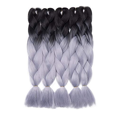 Extension treccine per capelli treccia finta kanekalon trecce braiding hair braids extensions fibre 500g/5 ciocche, shatush 60cm due tonalità # nero/grigio argento