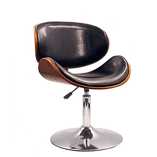 BZN Furnitures Moderne Barhocker höhenverstellbar drehbar Nussbaum Bugholz PU Leder Stuhl Cafe Barhocker (Lange Stange braun/weiß/schwarz) (Kurze Stange schwarz/weiß/braun) -