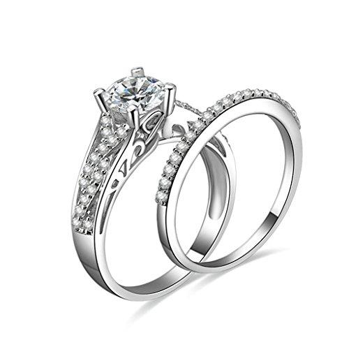 Anyeda Ringe Damen Silber 925 Voller Runde Cz Sterling Silber Ring Damen Breit Größe 62 (19.7)