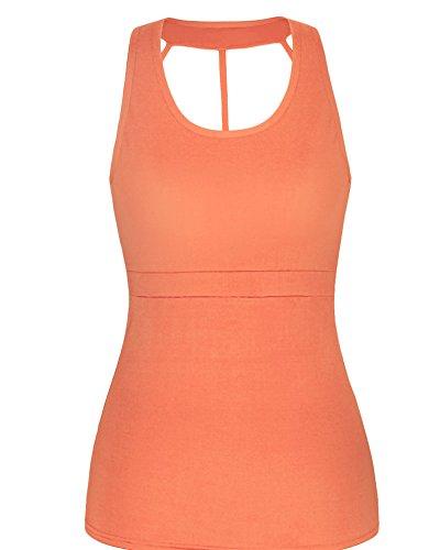 Femme Camisole Shirt Tops Casual Sans Manche Débardeur Orange