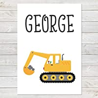Digger, Personalised Construction Print, Kids Bedroom Decor A4 or A3