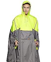 Icegrey Adult Rain Poncho Unisex Emergency Rainwear With Matching Pouch Long Reflective Stripe Yellow 3XL