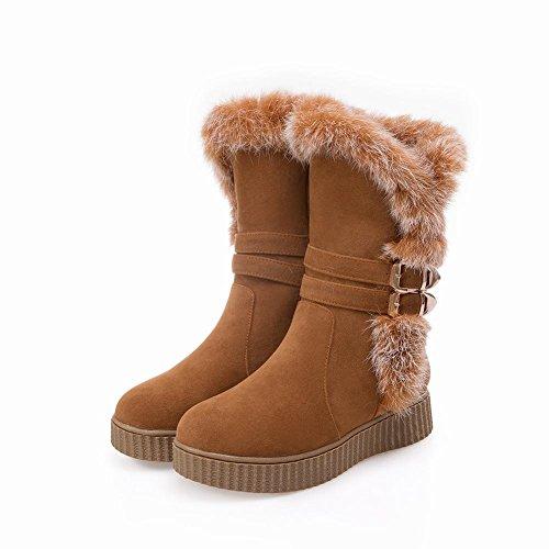 Mee Shoes Damen Nubukleder Reißverschluss runde Schneestiefel Braun