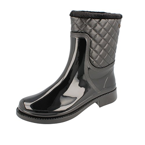Gosch Shoes Sylt - Donna Stivali in Gomma Wellengang Foderato Nero Made in Italy Nero
