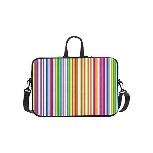 Bunte gestreifte abstrakte Variable Breiten-Aktenkoffer-Laptoptasche-Kurier-Schulter-Arbeitstasche Crossbody-Handtasche für Geschäftsreisen (Linear-laptop-schulter-tasche)