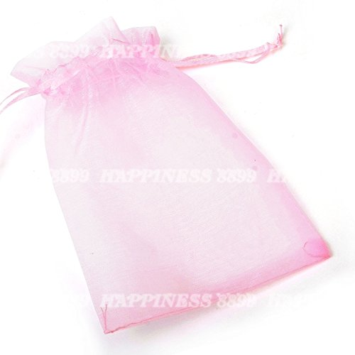 (50 pcs Organza Wedding Favor Gift Bags Jewellery Pouch Candy Bag (pink) by Organza Bags)