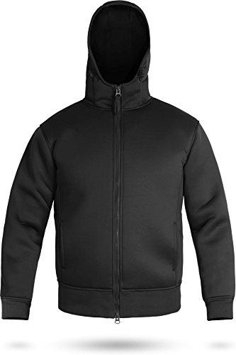 Neoprenjacke Kapuzenjacke Anglerjacke mit Fleece Futter [XS-3XL] Farbe Schwarz Größe XXL