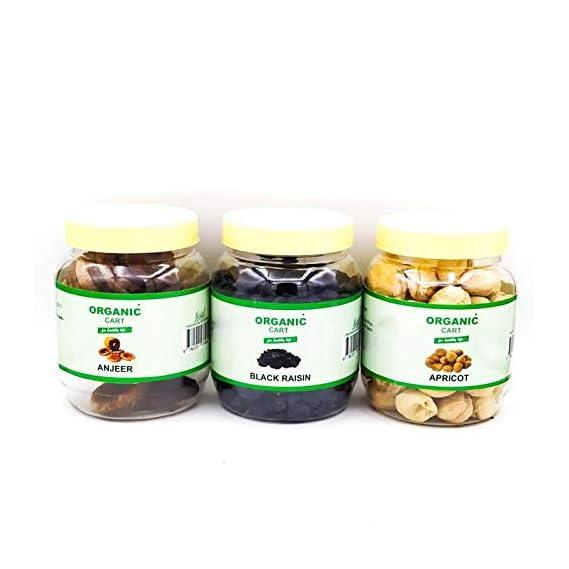 Organic Cart Dry Fruit Combo Almond 100G Black Raisin 100G Apricot 100G - 300 Grams