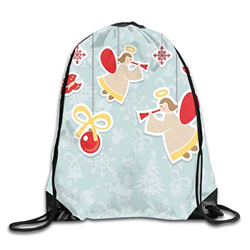HLKPE Drawstring Backpacks Bags Daypacks,Fairy Playing Trumpet Halo Spiritual Wings with Xmas Birds Balls Celebration,5 Liter Capacity Adjustable for Sport Gym Traveling (Diy Halloween Fairy Wings)