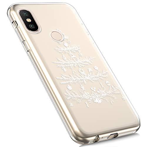 Preisvergleich Produktbild MoreChioce Xiaomi MI Mix 2S Hülle,Xiaomi Mix 2S Handyhülle, Durchsichtig Silikon Etui Christmas Weihnachten Schneeflocke Hirsch Muster Transaparent TPU Bumper für Xiaomi MI Mix 2S,Weiß Weihnachtsbaum