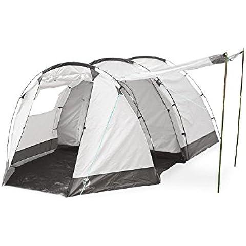 Yukatana Jomida Tienda campaña túnel para 4 personas 260x150x410 cm (Ideal camping, poliéster impermeable 3000 mm, tubos fibra de vidrio, dormitorio con mosquitero, ventana enrrollable, toldo recibidor, gris)